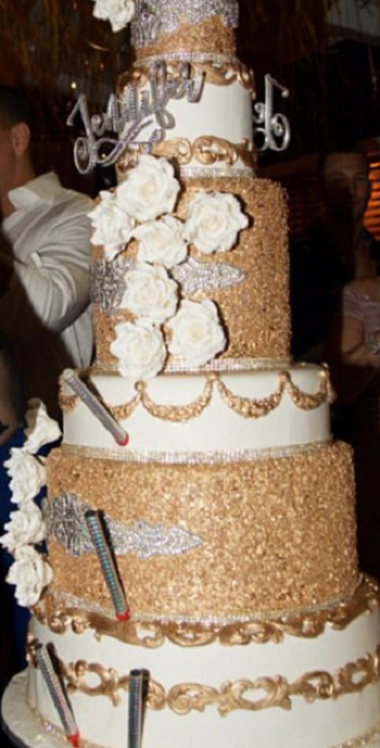 Jennifer Lopez (J.Lo) diamond crusted birthday cake with eatable gold to celebrate her 48th birthday