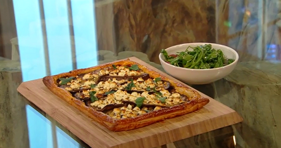 Nadiya Hussain's aubergine and feta tart with burnt garlic on Saturday kitchen