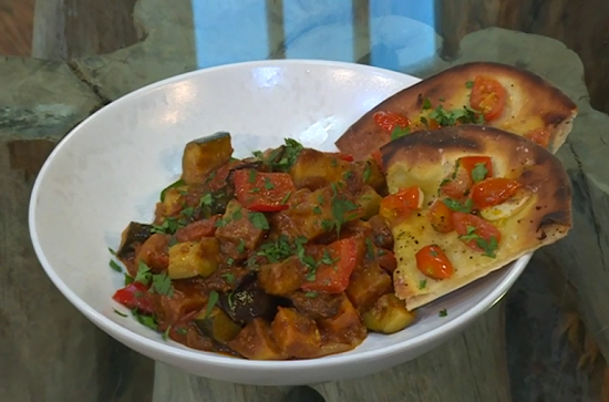 Donal's  tomato curry and garlic naan on Saturday Kitchen