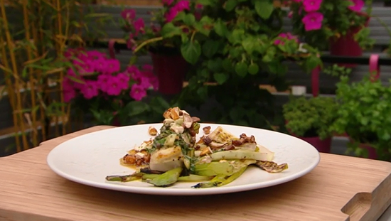 Jun's BBQ turbot with leeks, girolles and fresh almonds on Saturday Kitchen