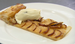 Henri Leconte's  apple tart with cream and raisins dessert on Celebrity Masterchef 2017