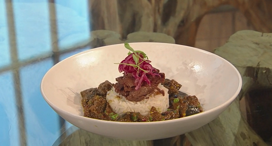 Ching's venison with aubergine jungle curry on Saturday Kitchen