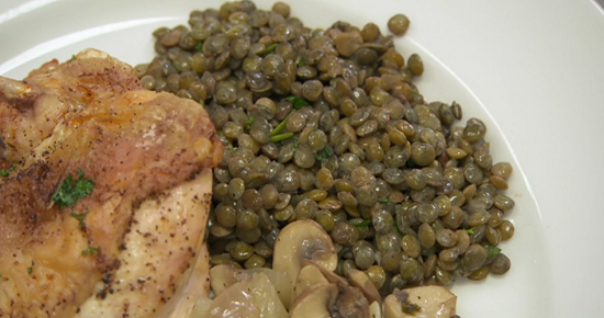 Jim and Henri's chicken and lentils dish on Celebrity Masterchef 2017