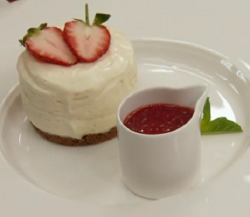 Angellica Bell's vanilla cheesecake with strawberry and basil coulis on Celebrity Masterch ...