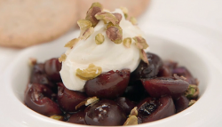 Angellica Bell cherries with red wine dessert on Celebrity Masterchef 2017