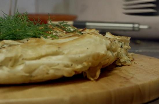 Loulla's Greek chicken pie in a frying pan on Nigel and Adam's Farm Kitchen