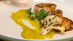 The Pigott's curried scallops with cauliflower puree on The Big Family Cooking Showdown