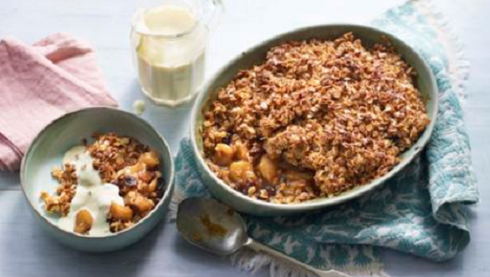 Nadiya Hussain flapjack cinnamon apple crumble with vanilla custard on Nadiya's British Fo ...