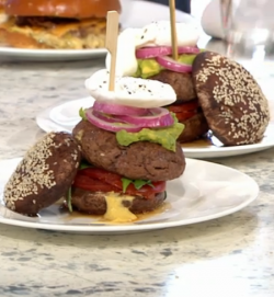 Gluten free mindful burger on Sunday Brunch