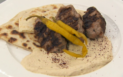 John Torode hummus with flatbread and lamb kofta on Celebrity Masterchef 2017