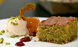 The Pigott's pistachio and olive oil cake with raspberry coulis dessert on The Big Family  ...