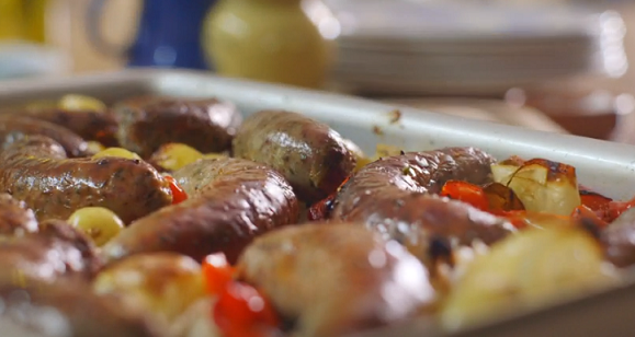 Mary Berry roasted sausage supper recipe on Saturday Kitchen