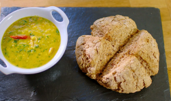 Nadiya Hussain  lentils soup with soda bread  on Nadiya's British Food Adventure