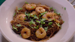 Nigella Lawson's Thai cinnamon noodles with with shrimps on Saturday Kitchen
