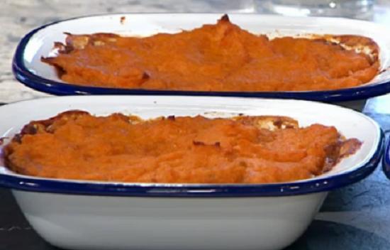 Elly Pear vegetarian sweet potato Shepherd's pie on Sunday Brunch
