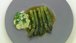 Dev's asparagus in lovage  oil and goat's curd starter on Celebrity Masterchef 2017