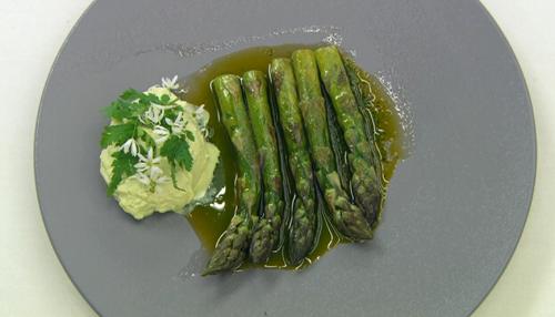 Dev's asparagus in lovage  oil and goat's curd starter on Celebrity Masterchef 2017