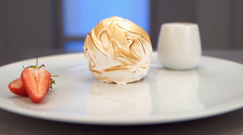 Angellica Bell's baked Alaska with strawberry coulis on Celebrity Masterchef 2017