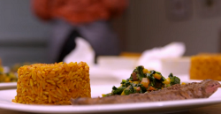 Tosin and Genevieve's beef suya with jollof rice and spinach sauce on My Kitchen Rules