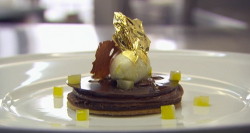 Angellica Bell's chocolate sponge and mousse on olive oil biscuits with ice cream dessert  ...