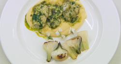 Dev's cod tongue with wild garlic sauce main course on Celebrity Masterchef 2017