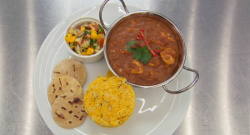 Dev's chicken curry with turmeric and cardamon rice on Celebrity Masterchef 2017