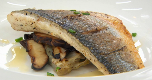 Dev's sea bass with mushrooms and red wine sauce on Celebrity Masterchef 2017