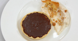 Dev's hazelnut chocolate tart on Celebrity Masterchef 2017