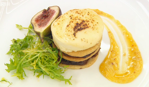 Angellica Bell's Parmesan pastry tart layered with fig and onion relish served with a sesa ...