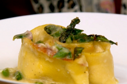 The Massaccesi's ham and asparagus rotolo pasta dish on The Big Family Cooking Showdown