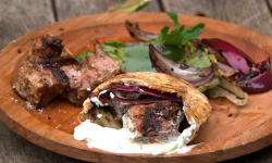 Dick and James Strawbridge's lamb kebabs with chargrilled vegetables mint dip on The Hungr ...