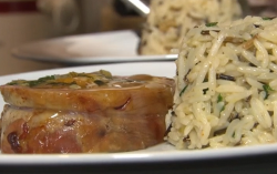 Dick's stuffed saddle of lamb with savoury rice and Cornish honey on The Hungry Sailors
