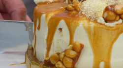 Liam's white layered ginger caramel cake on The Great British Bake Off 2017