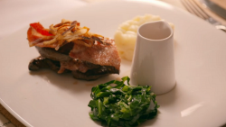 Bill and Graham lamb's liver with bacon and onion gravy on My Kitchen Rules