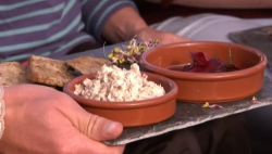James Strawbridge's smoked mackerel pate with pickled beetroot starter on The Hungry Sailors