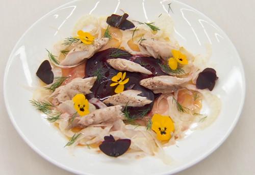 Ulrika Jonsson 's smoke mackerel with fennel, beetroot and raspberry vinaigrette starter o ...