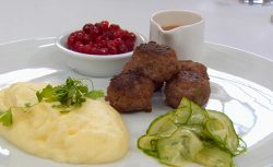 Ulrika Jonsson 's Swedish meatballs with mashed potatoes, lingonberry and pickled cucumber on Ce ...