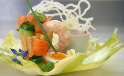 Ulrika Jonsson's mini prawn piller with quail eggs and cucumber caviar cooked using Cheris ...