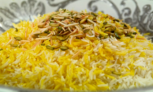 Ocean's Persian rice with crispy potatoes on The Big Family Cooking Showdown