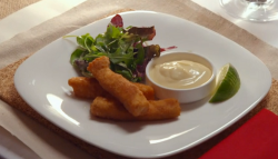 Bill and Graham salmon goujons with lime mayonnaise on My Kitchen Rules
