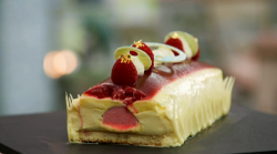 Sophie's raspberry, yuzu and white chocolate Bunche trifle terrine on The Great British Ba ...