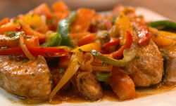 The Codougan Family Caribbean stew with salmon, peppers and tomato gravy on The Big Family Cooki ...