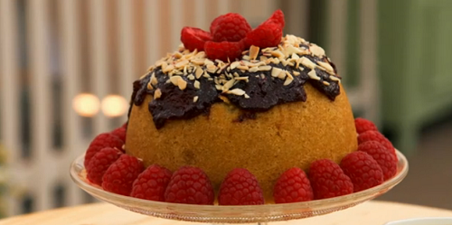 Stacey's bakewell tart steamed school pudding on The Great British Bake Off