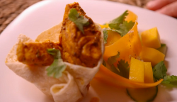 Shabana and Farzana's spicy fish tacos with a mango salad on My Kitchen Rules