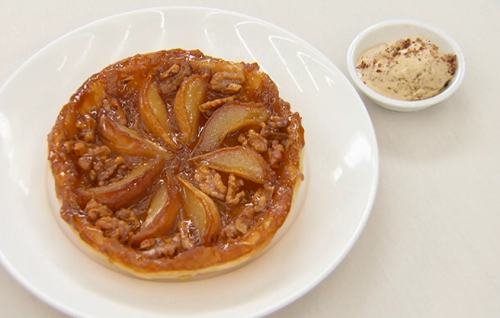 Ulrika Jonsson  pear and walnut tarte tatin with brown bread ice cream dessert on Celebrity Mast ...