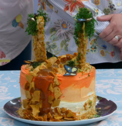 Yan's animals of the rain forest caramel cake on Bake Off