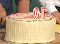 Larry Lamb 70′th rainbow birthday cake on Sunday Brunch