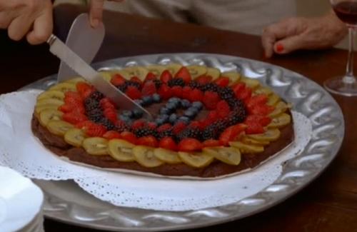 Simonetta's husband birthday chocolate cake on A Celebrity Taste of Italy