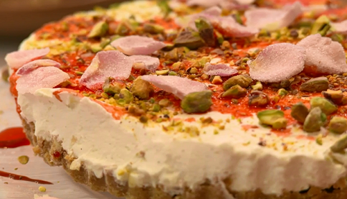 Sinitta Rignall's cardamom and Rose syrup cheesecake on The Big Family Cooking Showdown