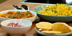 The Gangotra's chicken and butter bean curry with spice cous cous and pickled onion on The Big F ...